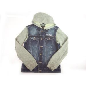 【半額処分】BLUECROSS(ブルークロス)★取り外し可能フード付き異素材コンビのデニムジャケット|konyankobrando-kids