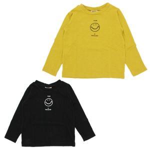 ニードルワーク NEEDLE WORK スマイル長袖Tシャツ S M サイズ ブラック マスタード キャラクター|konyankobrando-kids