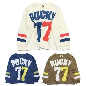 ブライドワーク スーパーファイブ SUPER5 RUCKYプリントラインTシャツ フリー 160 170cm オフシロ ネイビー ブラウン|konyankobrando-kids