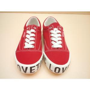 セール Lovetoxic(ラブトキシック)サイドソールロゴスニーカーシューズ/靴/スニーカー/レッド/赤/22cm/23cm/24cm|konyankobrando-kids
