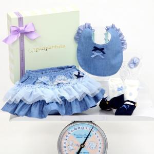 パンパンチュチュ panpantutu フリフリBOX デニムワルツBOX 箱 ギフトセット プレゼント スカート ビブ ソックス 靴下 ヘアピン ブルー系 リボン 6ヶ月 24ヶ月|konyankobrando-kids