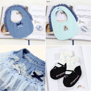 パンパンチュチュ panpantutu フリフリBOX デニムワルツBOX 箱 ギフトセット プレゼント スカート ビブ ソックス 靴下 ヘアピン ブルー系 リボン 6ヶ月 24ヶ月|konyankobrando-kids|02