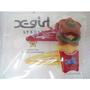 エックスガールステージス X-girl Stages ハンバーガーキラッキーヘアピン2個セット ヘアアクセサリー ヘアピン|konyankobrando-kids