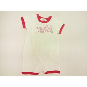 エックスガールステージス X-girl Stages バイカラーロゴ半袖カバーオール ロンパース 半袖 出産祝い ギフト|konyankobrando-kids