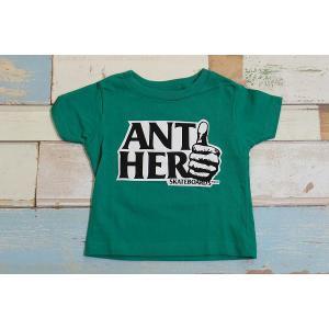 【メール便送料無料】ANTIHERO / アンチヒーロー 子供服 Tシャツ ロゴ グリーン 4T(100〜110cm) 男の子|kooka