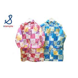 stample / スタンプル 子供服 バンダナパッチワーク キッズレインコート 男の子&女の子|kooka