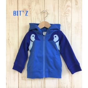 BIT'Z / ビッツ 子供服  ペンギンアップリケ前開きパーカー  ジップアップ 男の子 女の子 |kooka