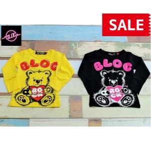 【SALE】【40%OFF】BLOC / ブロック 子供服 キッズTシャツ SAFETY PIN BEAR GIRLS 長袖Tシャツ 90cm 100cm 120cm 女の子|kooka