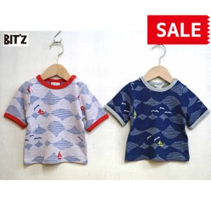 【SALE】BIT'Z / ビッツ 子供服  波柄ジャガード5分袖Tシャツ 総柄半袖Tシャツ 男の子 2018SS|kooka