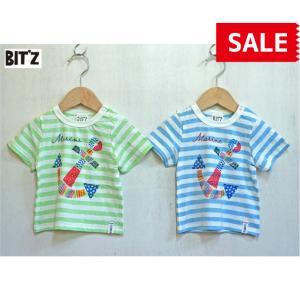 BIT'Z / ビッツ 子供服  イカリ切り絵プリントTシャツ  ボーダー半袖Tシャツ 男の子 2018SS|kooka