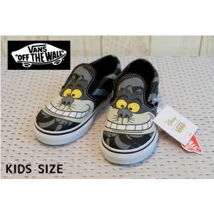 【SALE】VANS/バンズ 子供靴 キッズスニーカー Classic Slip-On cheshire cat ディズニーコラボバンズ チシャネコ 男の子&女の子|kooka