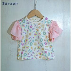 【SALE】Seraph / セラフ 子供服  袖切替Tシャツ  フリルシフォン袖柄Tシャツ  女の子  2018SS|kooka