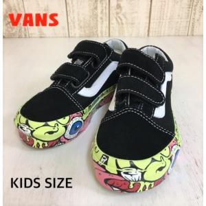 VANS/バンズ 子供靴 キッズスニーカー OLD SCHOOL V BRAIN  WALL  BLACK/TRUE WHITE 男の子&女の子|kooka