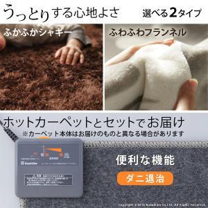 ホットカーペット カバー 洗える ラグマット〔モリス〕 1畳用(190x100cm)+ホットカーペット本体セット|koreene|02