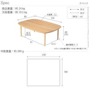 こたつ テーブル 丸くてやさしい北欧デザインこたつ 〔モイ〕 120x80cm+北欧柄ニットこたつ布団 2点セット 長方形|koreene|04