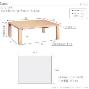 こたつ テーブル 高さ4段階調節 折れ脚こたつ〔フラットローリエ〕 120×80cm+国産北欧柄こたつ布団 2点セット 国産|koreene|03