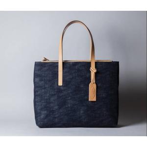 岡山デニムのトートバッグ 国産 ファスナーつき レディース  インディゴの藍色がきれい koroku-store