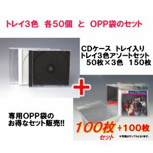 高品質CDケース(トレイカラー3色混合)とOPP袋のセット ジュエルケースPケース|kosakashop