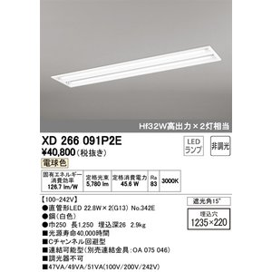 <title>宅配便不可 T区分オーデリック照明器具 XD266091P2E ランプ別梱包 NO342E ×2 ベースライト 人気ブランド多数対象 一般形 LED</title>