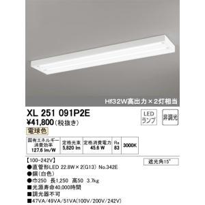 宅配便不可 T区分オーデリック照明器具 お歳暮 2020秋冬新作 XL251091P2E ランプ別梱包 NO342E ベースライト LED ×2 一般形