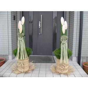 開運門松 天然の国産真竹 正月飾り 迎春 120cm 1対 しめ飾り付き|kosikawa-tikuzai