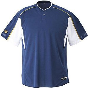 DESCENTE(デサント) ジュニア 野球 2ボタンベースボールシャツ JDB104B ネイビー×Sホワイト×ゴールド(NVSW) 140 kotohugshop