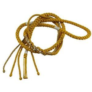 振袖用 パールビーズ飾り付き 金糸使用 手組 帯締め OW (イエロー)|kotohugshop