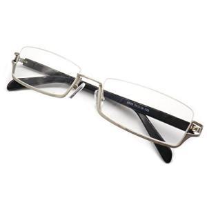 メガネ フレーム 逆 ナイロール アンダーリム 眼鏡 メタル 下ふち メンズ レディース 6698 (シルバー)|kotohugshop