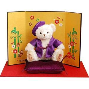 【プティルウ】喜寿に贈る、紫ちゃんちゃんこを着た福ベア(金屏風) ノーマル|kotohugshop