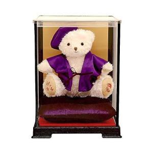 【プティルウ】古希に贈る、紫ちゃんちゃんこを着た福ベア (ケース)古希|kotohugshop