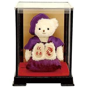 【プティルウ】喜寿に贈る、紫ちゃんちゃんこを着たお祝いテディベア(ケース)|kotohugshop