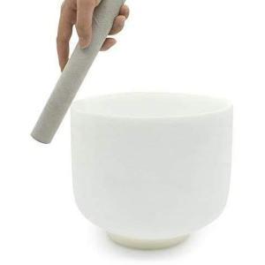 Ennbom クリスタルボウル シンギングボウル スエードマレット及びゴムリング付き 瞑想 ホワイト (8インチ)|kotohugshop