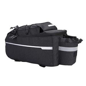 自転車 リアバッグ シートバッグ 10L 多機能 保温性 防水 調節可能なフック付き 自転車シートバッグ フレームバッグ (ブラック) kotohugshop