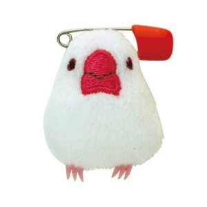【セキグチ】ぬいぐるみバッジ ★白文鳥|kotoricafe
