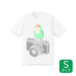 【ことりちゃん】インコのおとちゃん×ことりちゃん コザクラインコ Tシャツ(Sサイズ)|kotoricafe