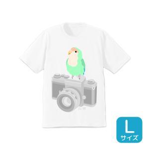 【ことりちゃん】インコのおとちゃん×ことりちゃん コザクラインコ Tシャツ(Lサイズ)|kotoricafe