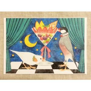 【文鳥院まめぞう】ポストカード『夜空に咲く白い華』|kotoricafe