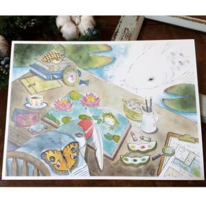 【文鳥院まめぞう】イラストカード 『夢現』|kotoricafe