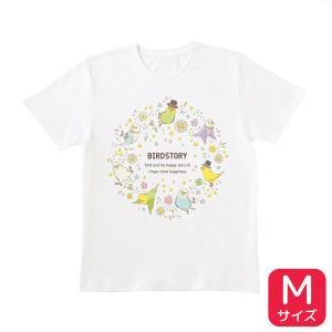 【BIRDSTORY】ことりとおはな Tシャツ セキセイインコ Mサイズ|kotoricafe