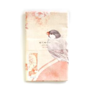 【濱文様】絵てぬぐい 桜と文鳥 ◆ タオル ハンカチ レッド RD kotoricafe