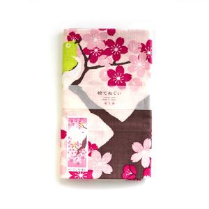 【濱文様】絵てぬぐい メジロと桜便り ◆ タオル ハンカチ ピンク PK kotoricafe