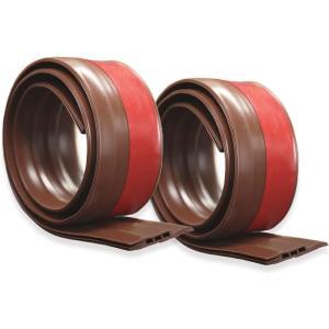ドアストッパーテープ すきま風防止  隙間シールストリップ ドア隙間テープ  半透明 防水 隙間テープ防風 防虫 ソフトなシリコーン (ブラウン)2個セット|kotoshopping