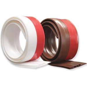ドアストッパーテープ すきま風防止  隙間シールストリップ ドア  半透明 防水 隙間テープ防風 防虫 ソフトなシリコーン (ブラウンとホワイト)2個セット|kotoshopping