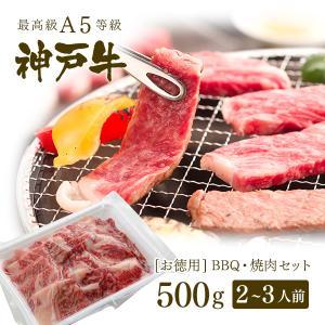 【アウトレット】A5等級 神戸牛 BBQ(バーベキュー)・焼肉 セット 神戸牛赤身・ロース・カルビ 500g koubegyu