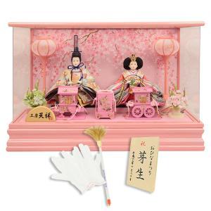 雛人形  ひな人形 ぷり姫 芥子親王飾り(二人飾り) 雛 パールピンク コンパクト ケース飾り
