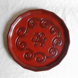鎌倉彫 十六角盆 八寸 屈輪文|koudou