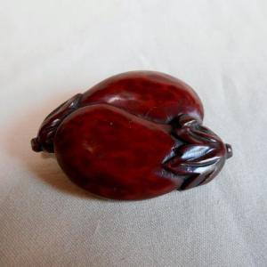 鎌倉彫 ブローチ 茄子|koudou