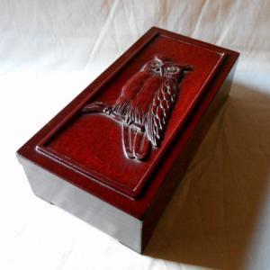 鎌倉彫 筆記具箱 ふくろう koudou