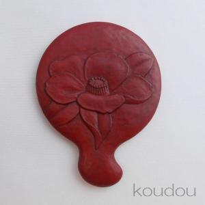 鎌倉彫 姫鏡 曲手 椿|koudou