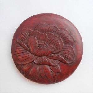 鎌倉彫 姫鏡 丸 牡丹|koudou